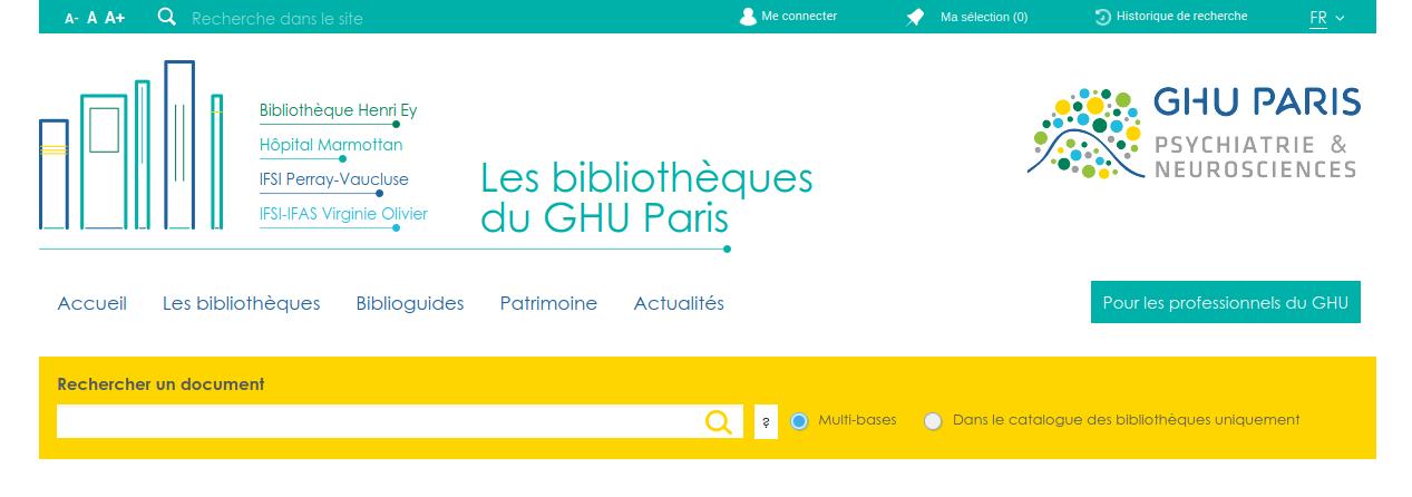 Aperçu du portail des bibliothèques du GHU de Paris